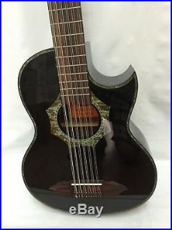 12 String Bajo Sexto Acoustic Electric Guitar Black, With Gig Bag