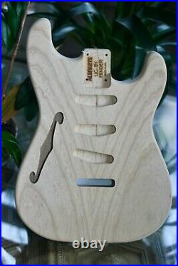 2007 Unfinished SemiHollow STRATOCASTER Ash Body LICENSED BY FENDER USA 2 lb. 7oz
