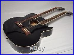 6/12 String Acoustic Electric Double Neck Guitar, Cutaway, Black with Case