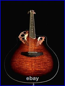 Beautiful Flamed-new 6 String Deluxe Acoustic Electric Round Back Guitar