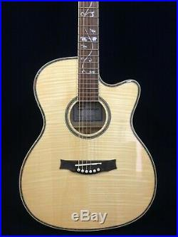 Caraya Flame Maple Body Electric-Acoustic Guitar withEQ+Free Gig Gag 837CEQ/NA