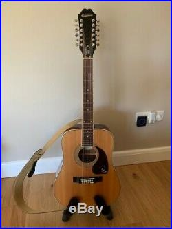 Epiphone DR-212 Acoustic Electric 12 string Guitar with new Hiscox hard case