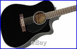 Fender CD-60SCE Dreadnought Acoustic-Electric Guitar Black with Hard Case