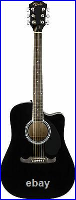 Fender FA-125CE Dreadnought Acoustic-Electric Guitar Black with Hard Case