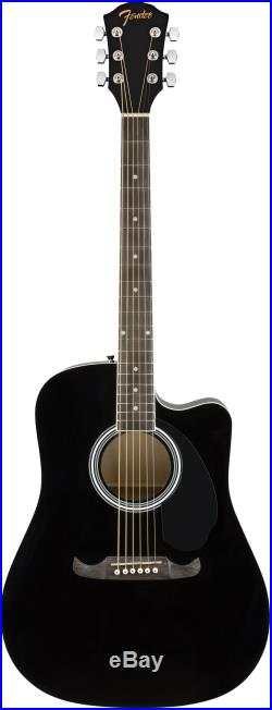 Fender FA-125CE Dreadnought Cutaway Acoustic-Electric Guitar Black with Gig Bag