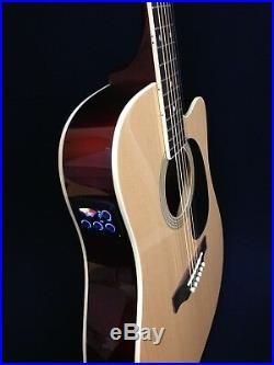 Haze F-631BCEQ/N Thin-Body Electric-Acoustic Guitar, Natural withFree bag, Strings