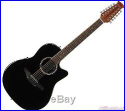 Ovation Applause Standard 12-String Acoustic Electric Guitar Black AB2412II-5