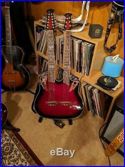 Ovation CSE225-RRB Celebrity Doubleneck Acoustic Electric Guitar Ruby Red