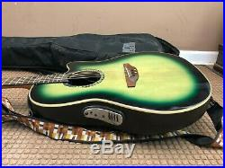 Ovation Celebrity CC026 Bowl Acoustic Electric Guitar Green / Black with Case