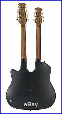 Ovation Double Neck 6/12 String Acoustic Electric Guitar Black RSE225-5