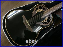 Ovation USA 1758 Elite Series 12 Strings Black Electric Acoustic Guitar