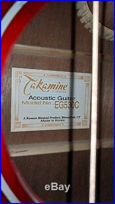Takamine EG-530C 1982 VINTAGE Electric Acoustic Guitar WithTerapin HSC Korea Red