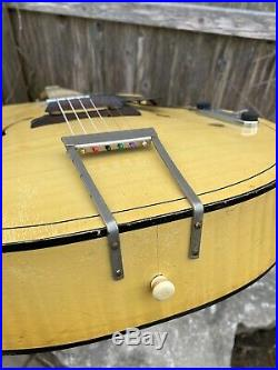Vintage Harmony H1214 Archtop Acoustic Guitar With Hershey Bar Electric Pickup
